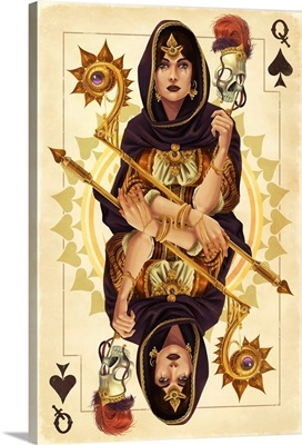 Queen of Spades - Playing Card: Retro Art Poster
