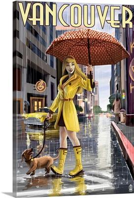 Rain Girl Pinup - Vancouver, BC: Retro Travel Poster