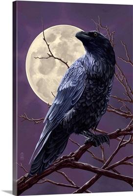 Raven and Moon Purple Sky: Retro Poster Art