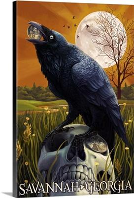 Raven and Moon - Savannah, GA: Retro Travel Poster
