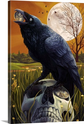 Raven and Skull: Retro Travel Poster