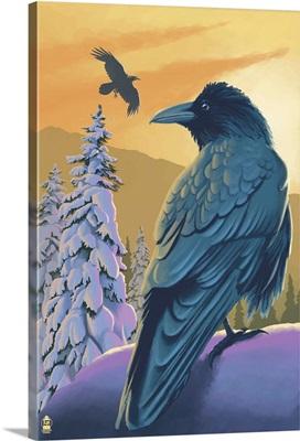 Ravens and Sunset: Retro Poster Art