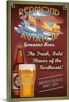 Redmond, Washington - Aviator Beer: Retro Travel Poster