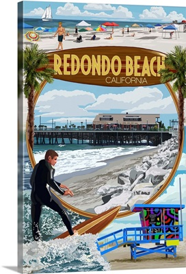 Redondo Beach, California - Montage Scenes: Retro Travel Poster