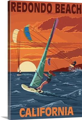 Redondo Beach, California - Wind Surfing: Retro Travel Poster