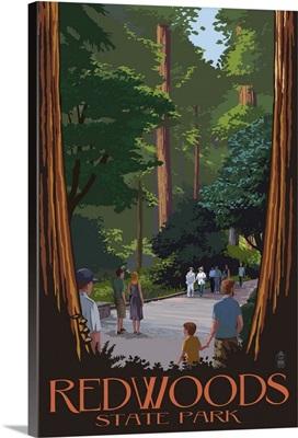 Redwoods State Park - Boardwalk: Retro Travel Poster