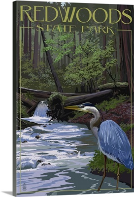 Redwoods State Park - Heron and Waterfall: Retro Travel Poster