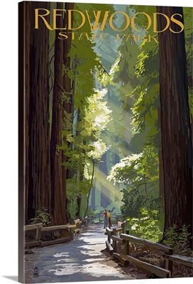 Redwoods State Park - Pathway in Trees: Retro Travel Poster