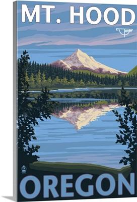 Reflection Lake - Mt. Hood, Oregon: Retro Travel Poster