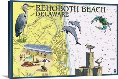 Rehoboth Beach, Delaware - Nautical Chart: Retro Travel Poster