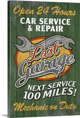 Retro Garage Ad, Vintage Wooden Sign