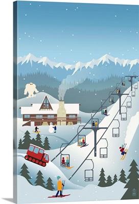 Retro Ski Resort: Retro Poster Art