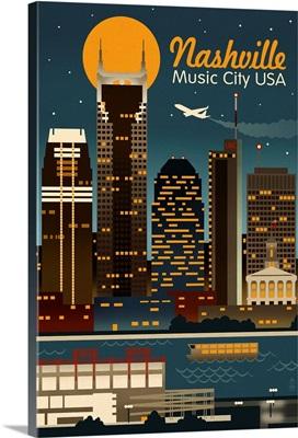 Retro Skyline - Nashville, Tennessee: Retro Travel Poster