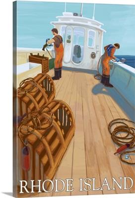 Rhode Island - Lobster Fishing: Retro Travel Poster