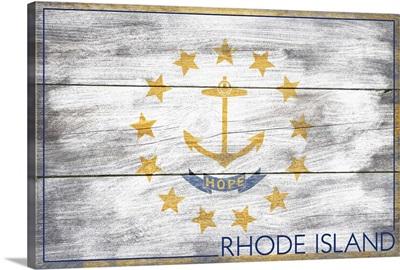 Rhode Island State Flag on Wood