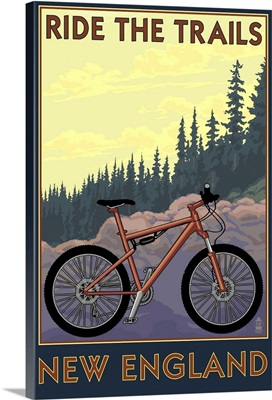 Ride the Trails in New England: Retro Travel Poster