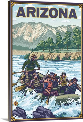 River Rafting - Arizona: Retro Travel Poster