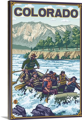 River Rafting - Colorado: Retro Travel Poster