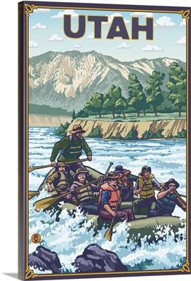 River Rafting - Utah: Retro Travel Poster