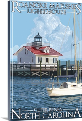 Roanoke Marshes Lighthouse - Outer Banks, North Carolina: Retro Travel Poster