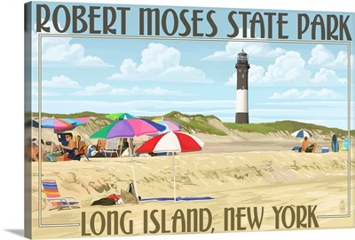 Robert Moses State Park, Long Island, New York: Retro Travel Poster