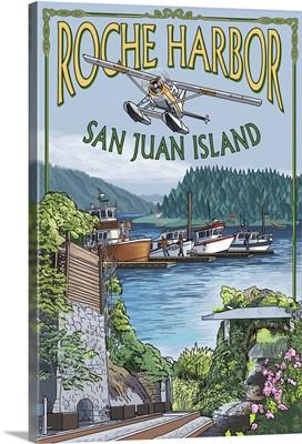 Roche Harbor, San Juan Island, Washington Views: Retro Travel Poster