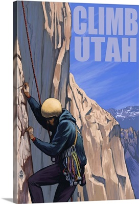 Rock Climber - Utah: Retro Travel Poster