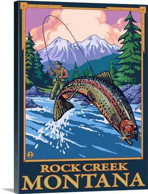 Rock Creek, Montana - Fly Fishing Scene: Retro Travel Poster