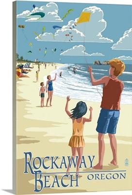 Rockaway Beach, Oregon - Kite Flyers: Retro Travel Poster