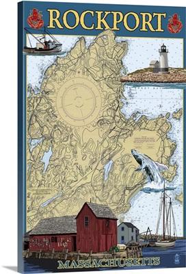 Rockport, Massachusetts - Nautical Chart: Retro Travel Poster