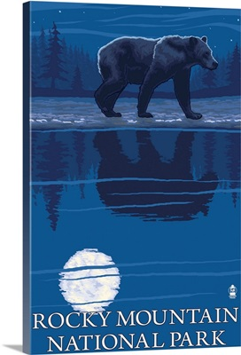 Rocky Mountain National Park, CO - Bear at Night: Retro Travel Poster