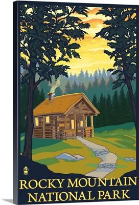 Rocky Mountain National Park, CO - Cabin Scene: Retro Travel Poster