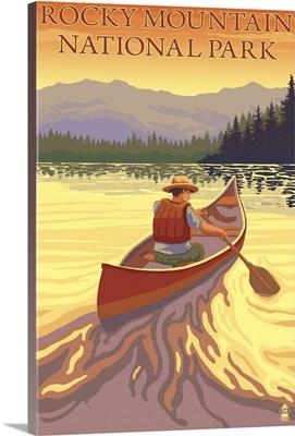 Rocky Mountain National Park, CO - Canoe Scene: Retro Travel Poster