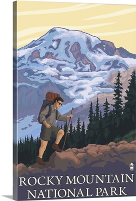 Rocky Mountain National Park, CO - Hiker: Retro Travel Poster