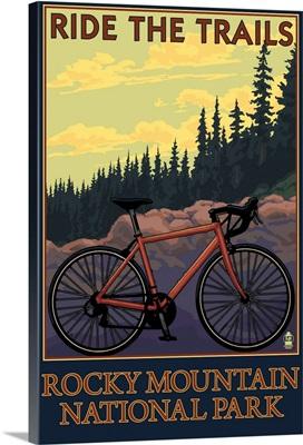 Rocky Mountain National Park, CO - Mountain Bike: Retro Travel Poster