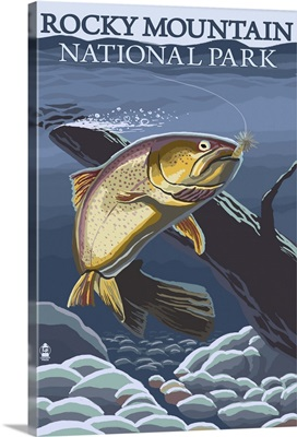 Rocky Mountain National Park, CO - Trout: Retro Travel Poster