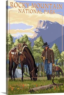 Rocky Mountain National Park, Colorado - Cowboy and Horse in Spring: Retro Travel Poster