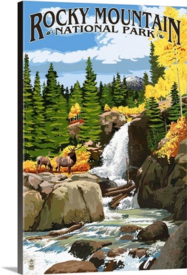 Rocky Mountain National Park, Colorado, Elk and Waterfall