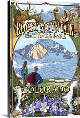 Rocky Mountain National Park, Colorado Montage: Retro Travel Poster