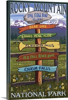 Rocky Mountain National Park, Colorado - Trail Ridge Road: Retro Travel Poster