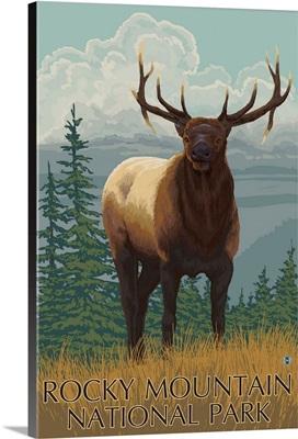 Rocky Mountain National Park - Elk: Retro Travel Poster
