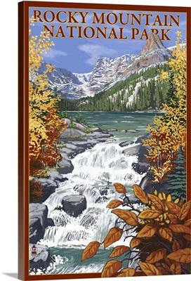 Rocky Mountain National Park - Lake Scene: Retro Travel Poster