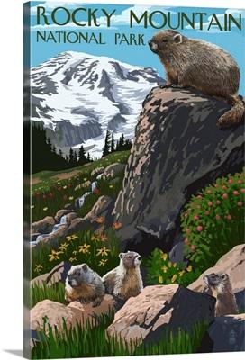 Rocky Mountain National Park - Marmots: Retro Travel Poster