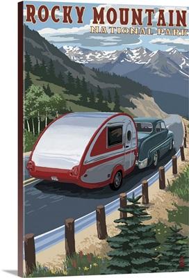 Rocky Mountain National Park - Retro Camper: Retro Travel Poster