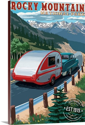Rocky Mountain National Park, Retro Camper, Rubber Stamp