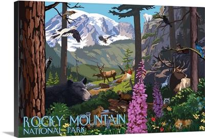Rocky Mountain National Park - Wildlife Utopia: Retro Travel Poster