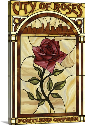 Rose and Skyline Stained Glass, Portland, Oregon