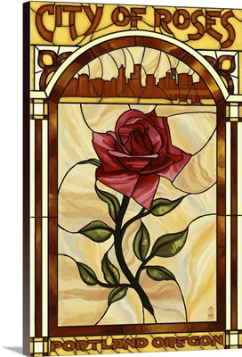 Rose and Skyline Stained Glass - Portland, Oregon: Retro Travel Poster