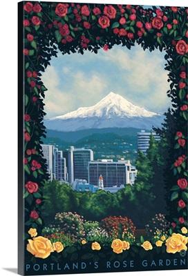 Rose Garden - Portland, Oregon: Retro Travel Poster