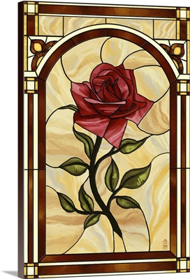Rose Stained Glass: Retro Poster Art